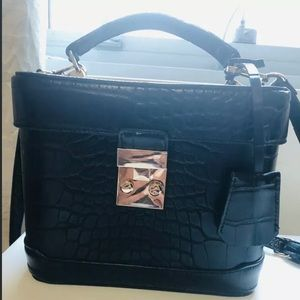 Black Faux Leather Forever 21 Box Bag